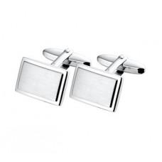 Zilveren manchetknopen rechthoek poli/mat (H616) - 613521
