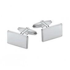 Zilveren manchetknopen rechthoek mat (H615) - 614514