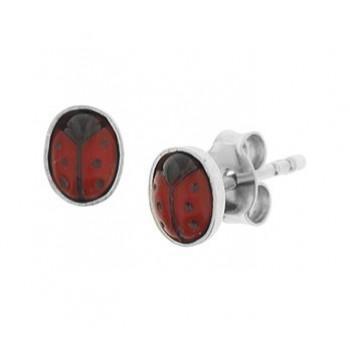 Zilveren oorknop lieveheersbeestje - 615017