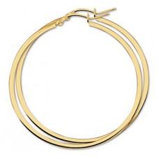 14 krt gouden oorringen 54x2mm vierkante buis