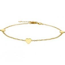 14krt gouden armband met 3x hartje 17-18.5cm - 615472