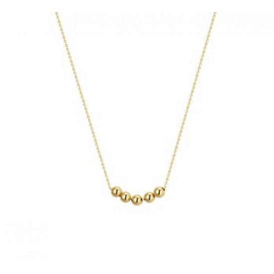 14 krt gouden collier met 5 bolletjes 3mm verschuifbaar 40-44cm - 611179