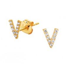 14 krt gouden oorknoppen V-vorm met zirkonia - 613081