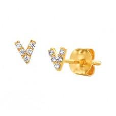 14 krt gouden oorknoppen V-vorm met zirkonia - 613082