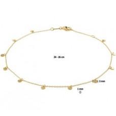 14krt gouden enkelbandje met rondjes 24-26cm (K070) - 615107