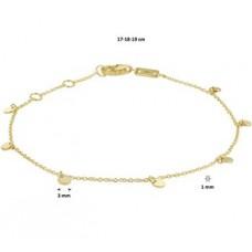 14krt  armband met rondjes eraan 17-19cm (K070) - 615092