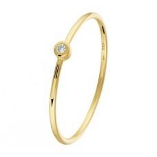 14 krt gouden aanschuifring met diamant 0.015crt P1 maat 16 (H563) - 614547