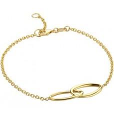 14krt gouden armband met 2x ovaal in elkaar 17-19cm (H166) - 614549