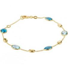 14krt gouden armband met london blue topaas en blue topaas 17-19cm (H099) - 615200