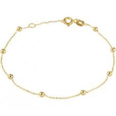 14krt gouden armband met bolletjes 16.5-18cm (H574) - 614551