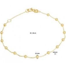 14krt gouden enkelbandje met bolletjes 24-16cm (K076) - 615097