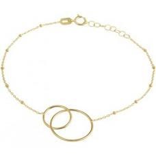14krt gouden armband 2 rondjes in elkaar 16-18cm (K221) - 615215