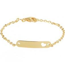 14krt gouden graveer armband 11-13cm hartje uitgesneden - 615637