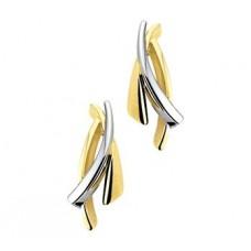 14 krt gouden bicolor oorknoppen overslag - 604890