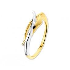 14 krt bicolor gouden fantasie ring 7mm maat 18 - 615640