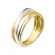 14 krt bicolor gouden overslag ring 7mm maat 17.5