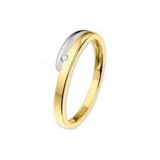 14 krt bicolor gouden ring met briljant 0.02crt maat 17