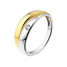 14 krt gouden bicolor ring met diamant 0.05 crt H SI - 613107