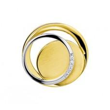 14 krt bicolor gouden schuifhanger rondjes in elkaar met briljant 0.03crt SI - 611945