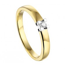 14 krt bicolor gouden solitairring met briljant 0.05crt SI maat 17 - 610929