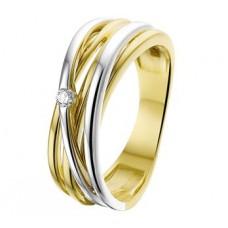 14 krt bicolor gouden ring overslag met briljant 0.04crt SI maat 17.75 - 610935