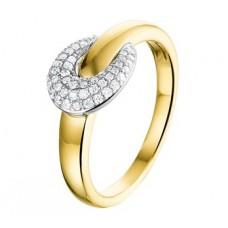 14 krt gouden ring druppel met briljant 0.22crt SI maat 17.75
