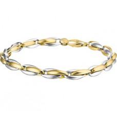 14 krt bicolor gouden armband 18.5cm 5.5mm - 610940