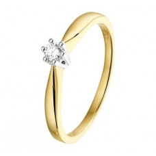 14 krt bicolor gouden solitairring met briljant 0.08crt in 6-poots chaton maat 17