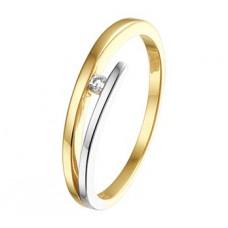 14 krt bicolor gouden ring met briljant 0.03crt maat 17