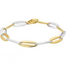 14 krt bicolor gouden schakel armband 7.2mm 19.5cm (C132) - 612303