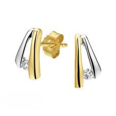 14 krt gouden bicolor oorknoppen met diamant 0.05crt H SI - 613112