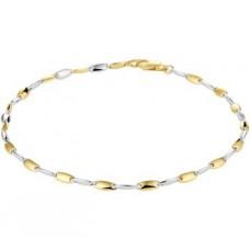 14krt bicolor gouden armband 19cm 2.5mm - 615558