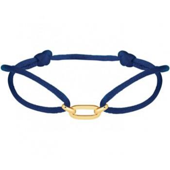 14krt gouden schakel aan blauw satijn draad geknoopt verstelbaar - 615786