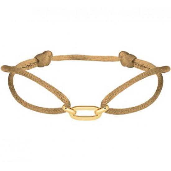 14krt gouden schakel aan camel satijn draad geknoopt verstelbaar - 615787