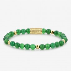 Rebel & Rose Jewelry Bracelet Green Harmony 6mm Yellow Gold Plated S - 614705