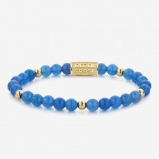 Rebel & Rose Jewelry Bracelet Brightening Blue 6mm Yellow Gold Plated S - 614710