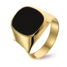 14 krt gouden herenring met onyx maat 20