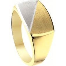 14 krt bicolor gouden ring maat 21