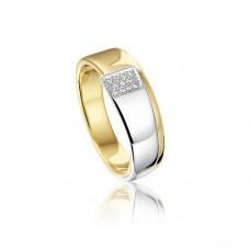 14 krt bicolor gouden ring met diamant 11-0.16crt H SI - 613270