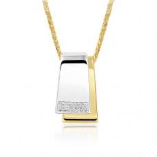 14 krt bicolor gouden hanger met diamant 20-0.10crt H SI - 613271