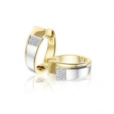 14krt bicolor gouden creolen met diamant 22-0.08crt  H SI - 613272