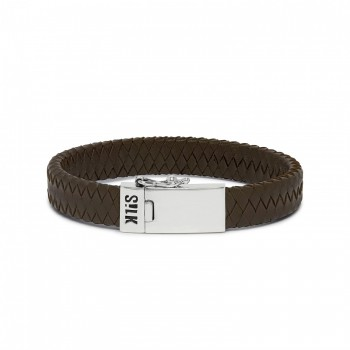 S!LK Armband Alpha Leather Brown 841BRN.22 - 616240