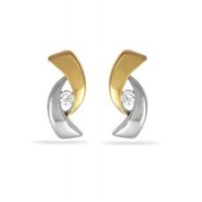 14 krt bicolor gouden oorstekers met diamant 2-0.04crt H SI - 610013