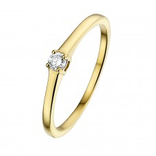 14 krt geelgouden ring met diamant 1-0.10crt G/SI - 604715