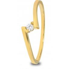 14 krt geelgouden ring met diamant 1-0.04crt H/SI - 604710