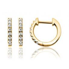14 krt gouden creolen met diamant 16-0.16crt H/SI - 611912