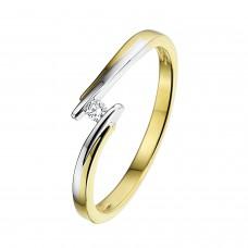 14 krt bicolor gouden ring met diamant 1-0.03crt H/SI - 604713