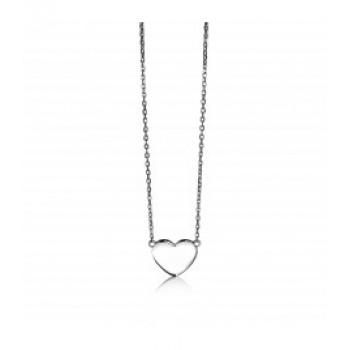 ZINZI zilveren collier dun met plaatje in hartvorm 42cm ZIC1307 - 610092