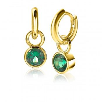 ZINZI zilveren oorbedels verguld groen rond 7mm ZICH1486GG - 614632