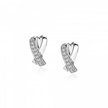ZINZI zilveren oorstekers fantasie kruislings met zirkonia ZIO1625 - 614387